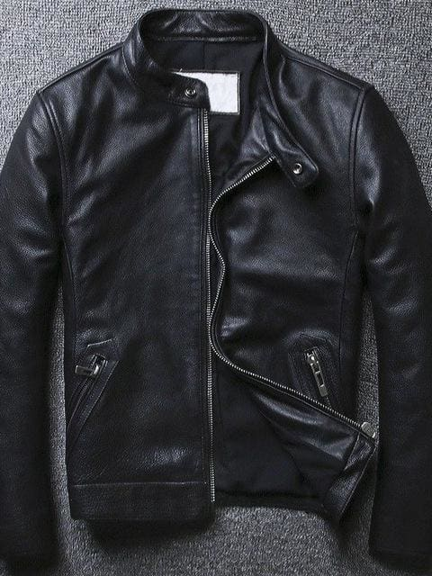 Stand Collar Black Color Genuine Leather Jacket