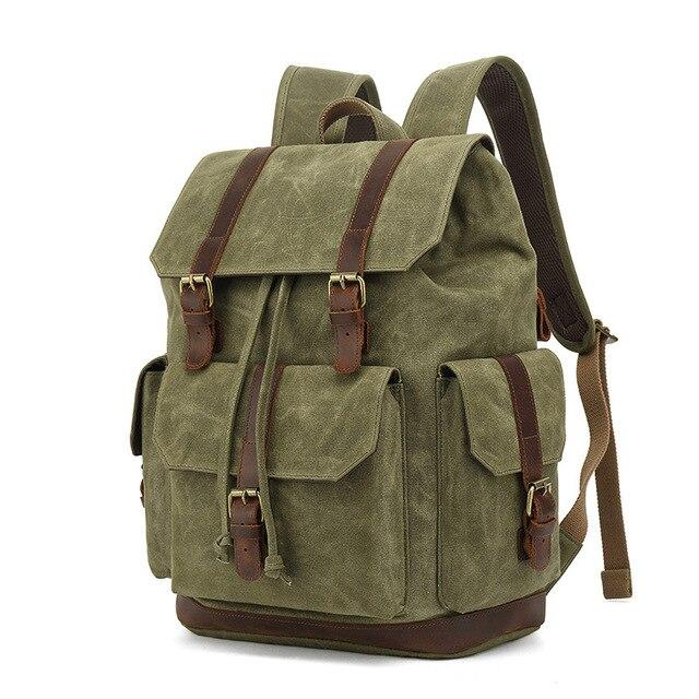 top goldman Rivoli Canvas Leather Travel Backpack army green