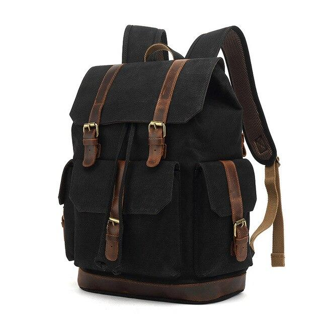 top goldman Rivoli Canvas Leather Travel Backpack black
