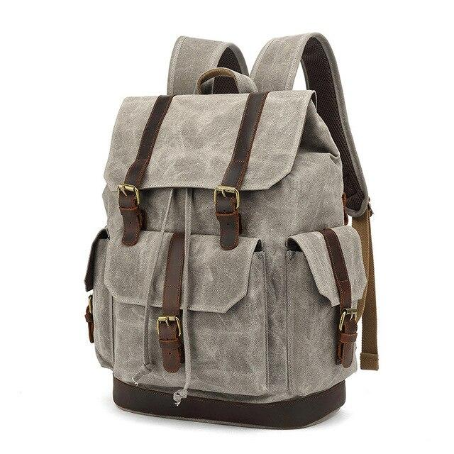 top goldman Rivoli Canvas Leather Travel Backpack gray