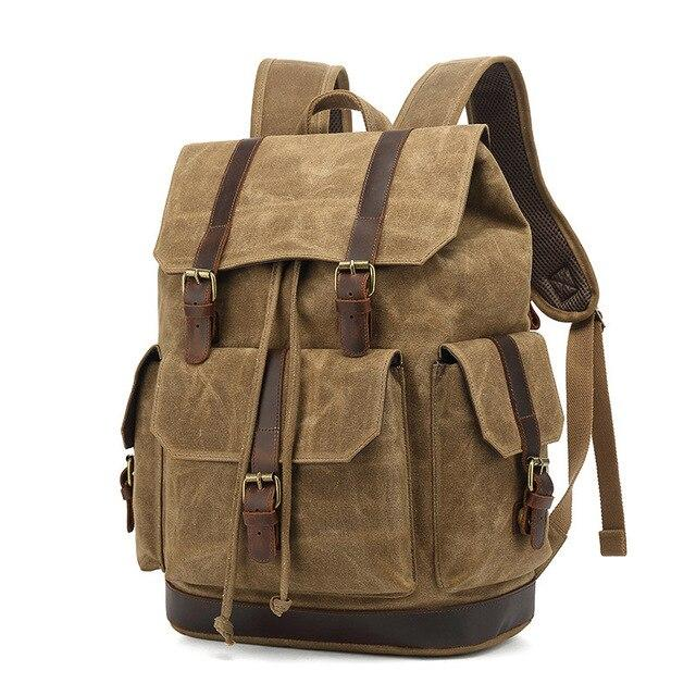 top goldman Rivoli Canvas Leather Travel Backpack khaki