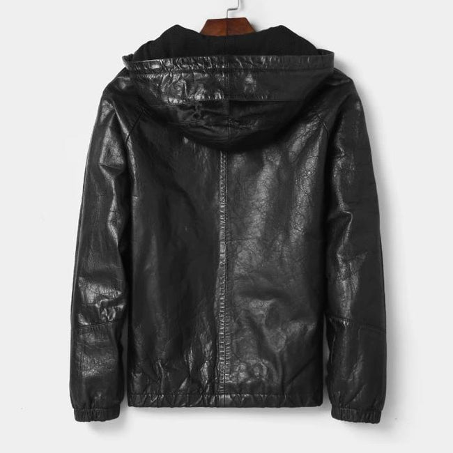 TOPGOLDMAN-Rivoli Hooded Real Leather Jacket-biker jacket-black L