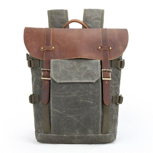 top goldman Sorrento Canvas Leather Camera Backpack Army Green