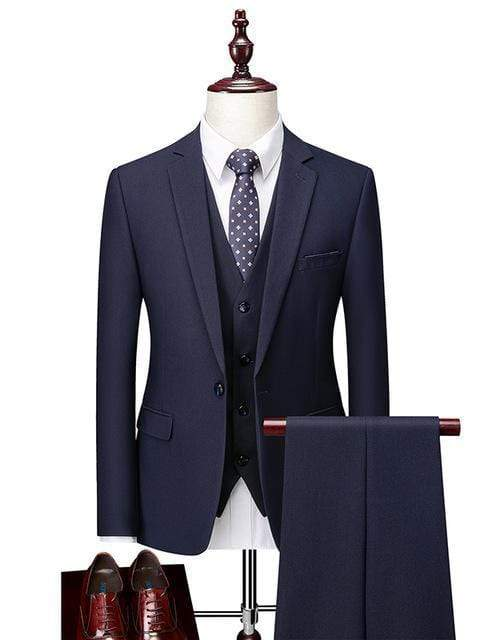 topman topgoldman boss luxury elegant business suits-Navy Blue-L