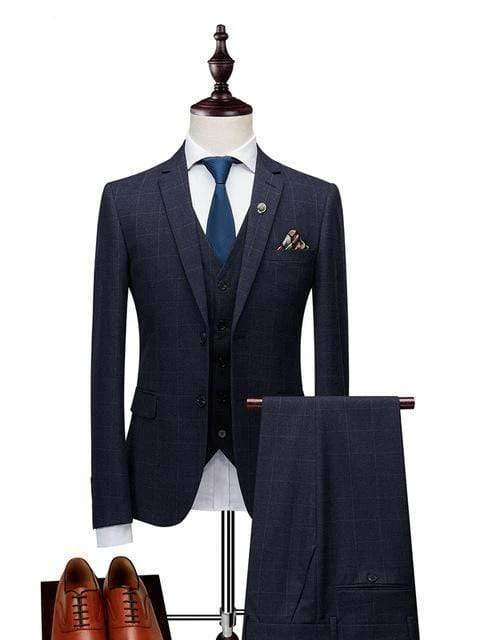 topman topgoldman boss luxury elegant business suits-Navy Blue-XL