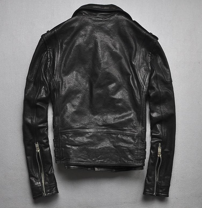 Bolsena Genuine Leather Jacket real leather biker jacket for men Black