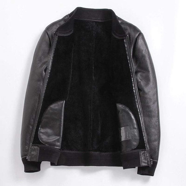 Classic Sheepskin Leather Jacket real leather biker jacket for men black