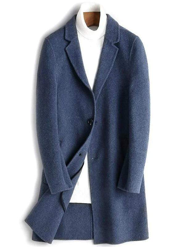 Benevento Wool Overcoat winter coat jacket for men blue