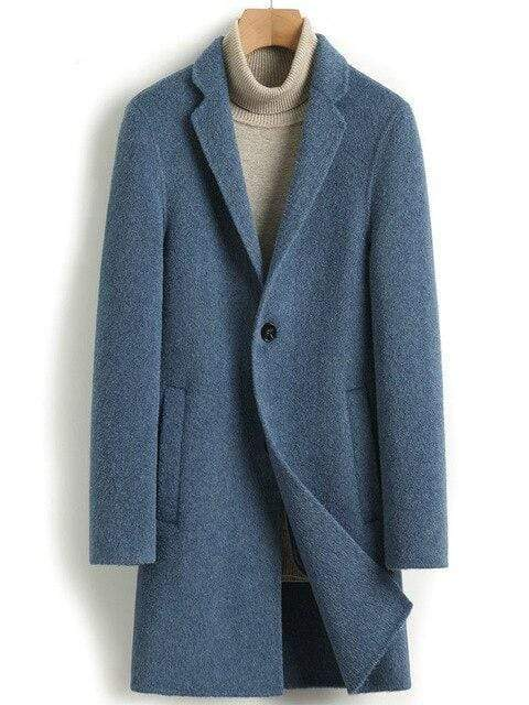 Veneto Cashmere Wool Coat winter coat jacket for men Blue