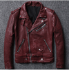 Elegant Zipper Leather Jacket real leather biker jacket for men green