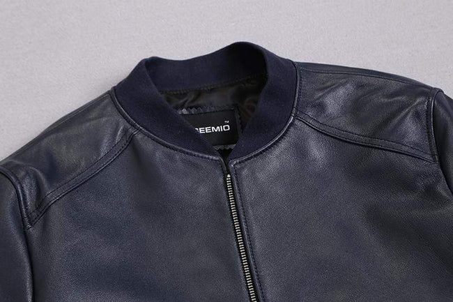Genuine Leather Bomber Jacket real leather biker jacket for men Blue