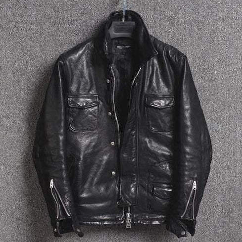 Genuine Leather Casual Jacket real leather biker jacket for men Black