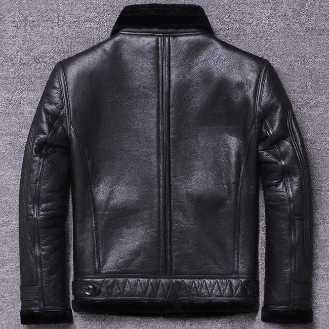 Genuine Leather Single Breasted Casual Jacket real leather biker jacket for men black
