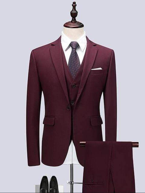 topman topgoldman boss luxury elegant business suits-Wine red-XL