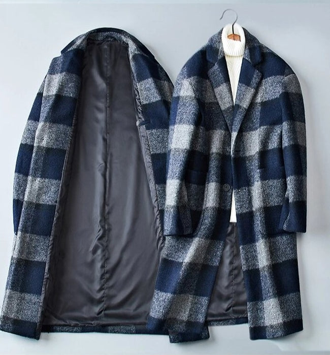 Loreto Wool Overcoat winter coat jacket for men gray blue