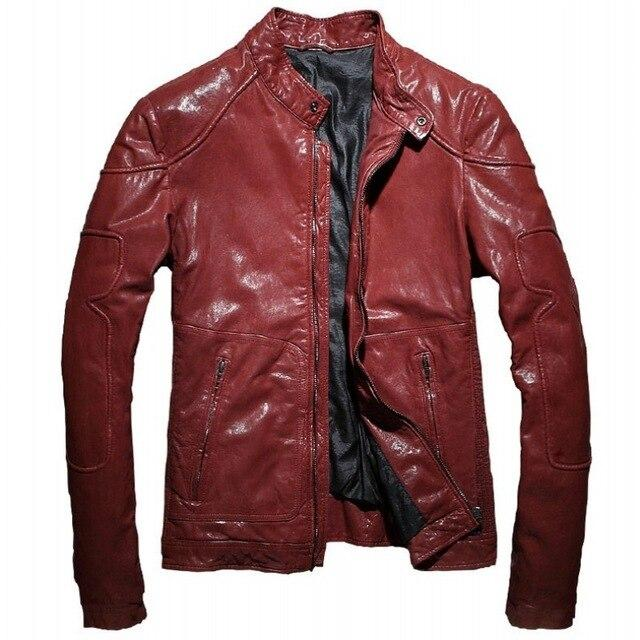 Marino Genuine Leather Jacket real leather biker jacket for men red
