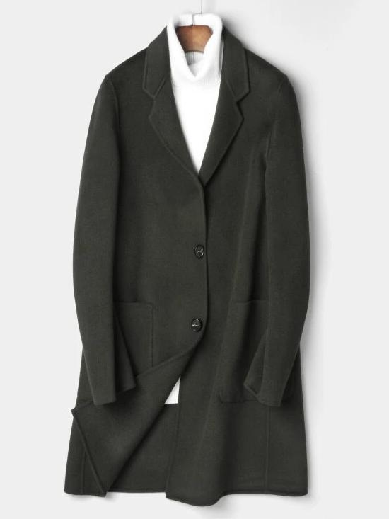 Marino Wool Overcoat winter coat jacket for men dark green