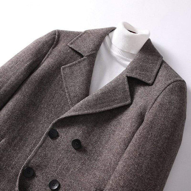 Veneto Wool Overcoat winter coat jacket for men Black