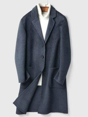 Porto Cashmere Wool Overcoat winter coat jacket for men Blue