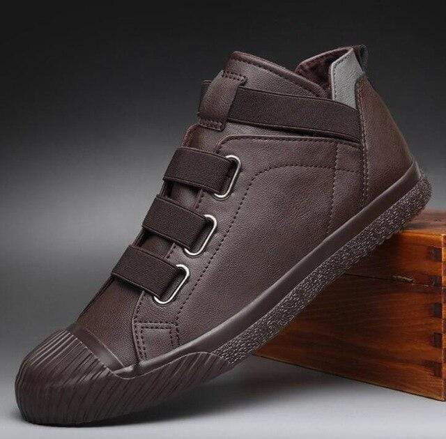 topgoldman-mens-Elastic Band Leather Shoes-Brown-8