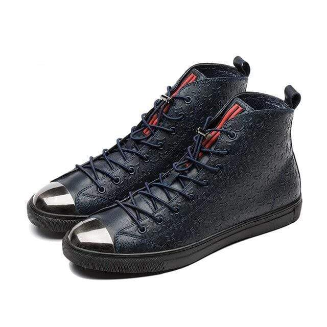 topgoldman-mens-High-top Metal Toe Genuine Leather Shoes-Blue-8.5