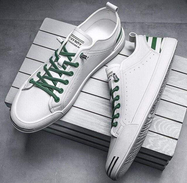 topgoldman-mens-Lace-up Leather Sneakers-Green-7