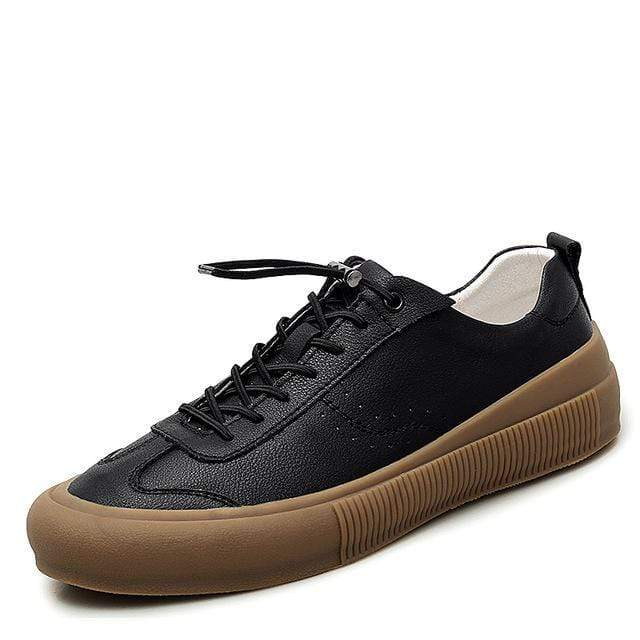 topgoldman-mens-Lace-up Soft Leather Sneakers-Black-9