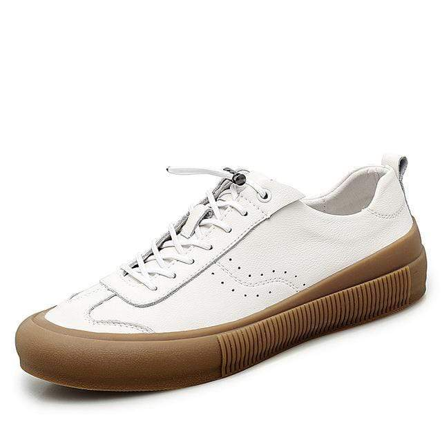 topgoldman-mens-Lace-up Soft Leather Sneakers-White-9.5