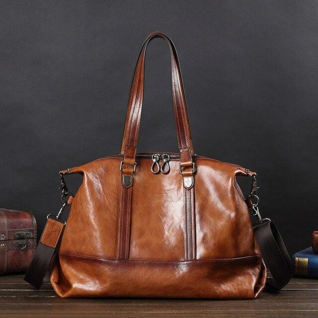 topgoldman-mens-leather-handbag-leather-backpack-messenger-bag-briefcase-Brown coffee-