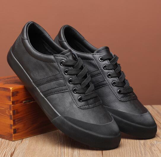 topgoldman-mens-Lightweight Lace-up Canvas Shoes-Black-8.5