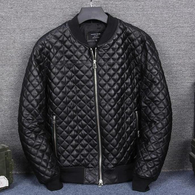 Men's Real Leather Jacket real leather biker jacket for men Black