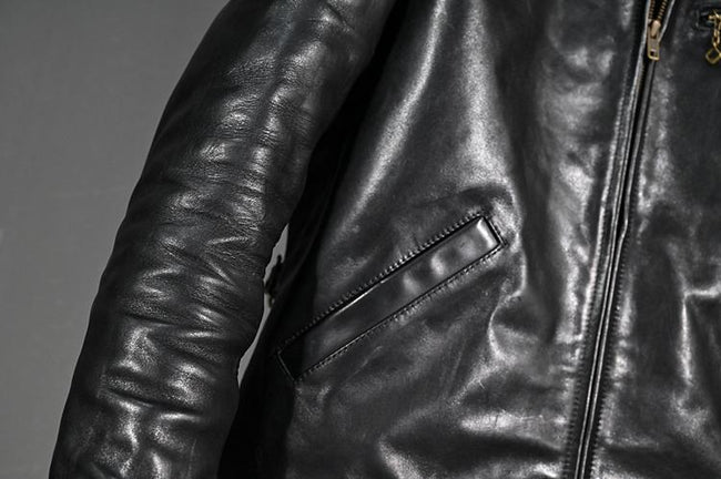 Milazzo Genuine Leather Jacket real leather biker jacket for men Black