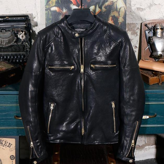 Oil Wax Vegetable Tanned Stand Collar Genuine Leather Jacket real leather biker jacket for men Black