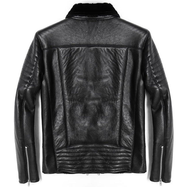 Orvieto Genuine Leather Jacket real leather biker jacket for men Black
