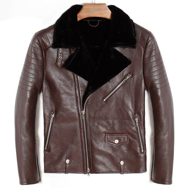 Orvieto Genuine Leather Jacket real leather biker jacket for men Brown