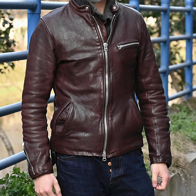 Otranto Genuine Leather Jacket real leather biker jacket for men Black