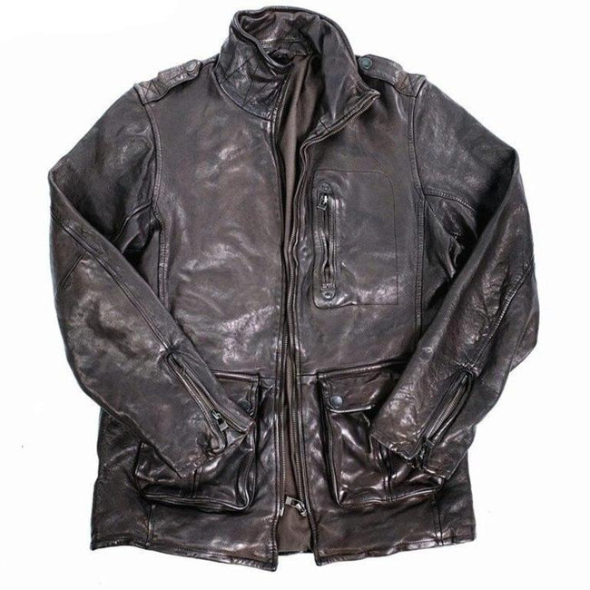 Paterno Genuine Leather Jacket real leather biker jacket for men Brown