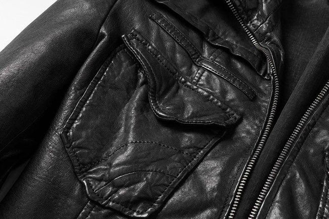 Rivoli Genuine Leather Jacket real leather biker jacket for men black