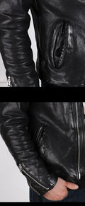 Veneto Genuine Leather Jacket real leather biker jacket for men Black