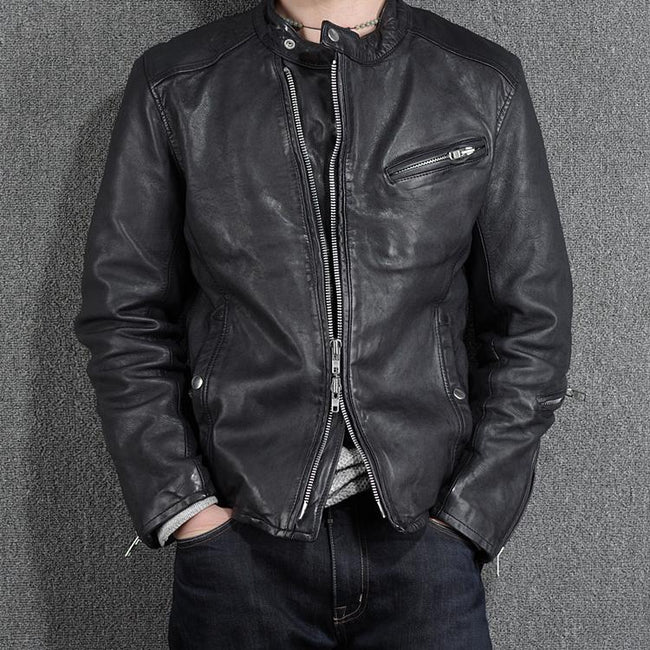 Vintage Genuine Leather Jacket real leather biker jacket for men Black