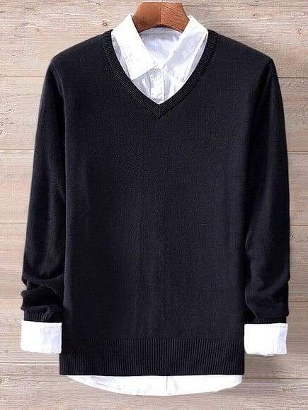 topman topgoldman boss luxury elegant sweaters for men-black-M (Asian size)
