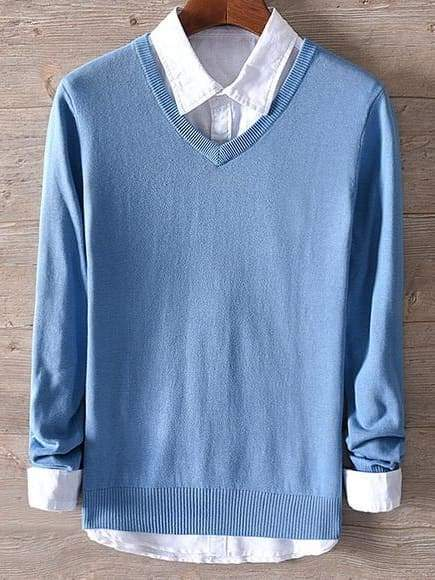 topman topgoldman boss luxury elegant sweaters for men-denim blue-XL (Asian size)