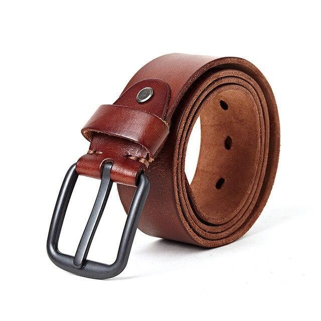 topman topgoldman boss genuine leather belt - Red brown-105CM