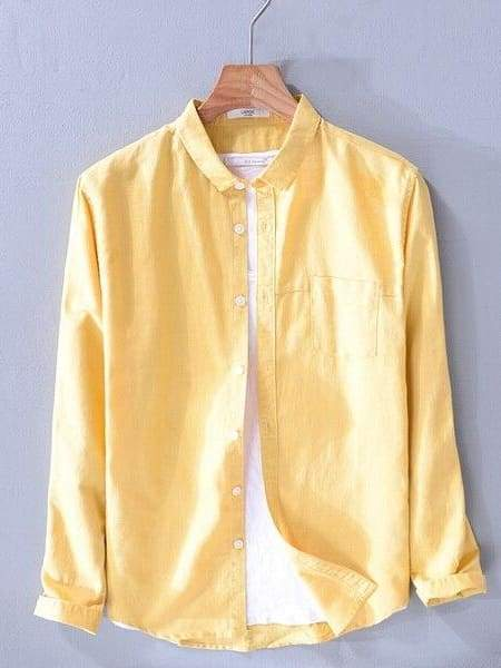 topman topgoldman boss luxury elegant shirts for men-yellow-XXL