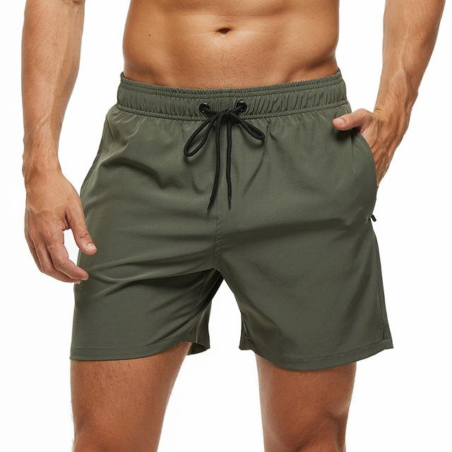 topman topgoldman boss elegant swim gym running shorts for men-Army Green-L