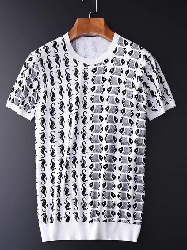 topman topgoldman boss luxury elegant t-shirts for men-BLACK AND WHITE-M