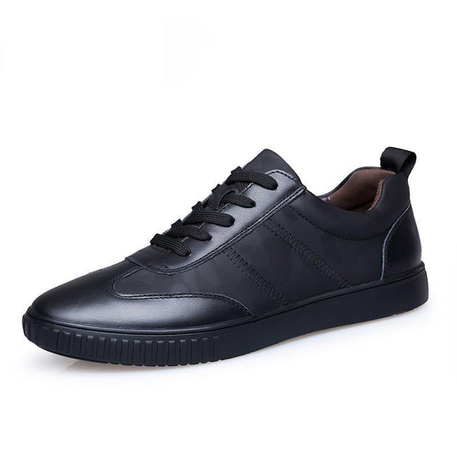 topman topgoldman boss luxury elegant genuine leather trainers for men-Black-6
