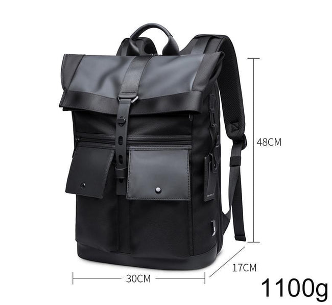 topman topgoldman boss genuine leather bag backpack for men-Black-