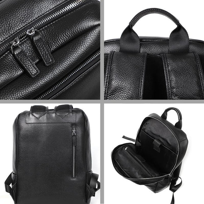 topman topgoldman boss genuine leather bag backpack for men-black-2019