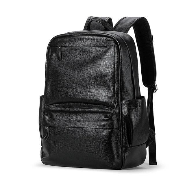 topman topgoldman boss genuine leather bag backpack for men-Black 8331-